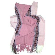 Soft Pink Latin American Design Fringed Shawl