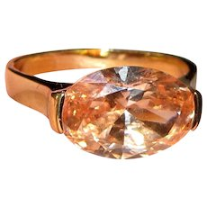 Gorgeous Sterling Vermeil & Apricot Marquise Cut Stone, Ring Size 8