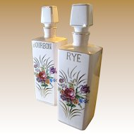 Great Looking Pair of Vintage Floral Bourbon and Rye Decanters
