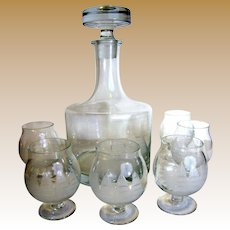 Toscany Crystal Clipper Ship Etched Decanter & 6 Matching Glasses