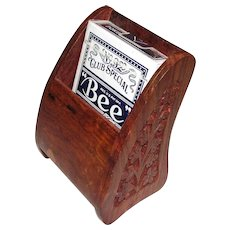 Vintage Playing Card Holder, Hand Carved with Playing Cards Still in Cellophane, Like New
