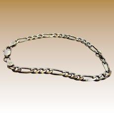 "Italian Sterling 7"" Figaro Link Bracelet, 7 grams"