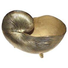 "Huge 11"" Solid Brass Nautilus Sea Shell Planter"