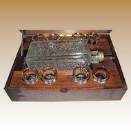 Antique Liquor Music Box w/ Bottle & 8 Shot Glasses