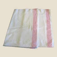 "Pristine Pair of Pink Border ""Martex"" Hand or Tea Towels"