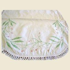 "34"" Snow Drop Embroidered Linen Runner (plus bonus doily)"