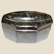 Antique Black Marble Dual Ink Well with Glass Insert