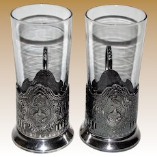 Vintage Pair of USSR Soviet Space Program Sputnik Tea Glass Holder w/Glasses, Podstakannik