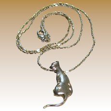 """Sterling Kitty Pendant on 22"""" Chain, 8 grams"""