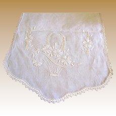 "40"" Hand Embroidered Linen Runner, Flower Baskets"