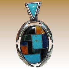 Vintage Carolyn Pollack Relios Sterling Inlaid Pendant