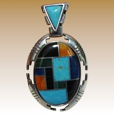 Vintage Carolyn Pollack Relios Sterling Inlaid Pendant