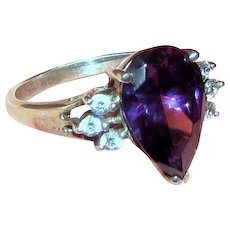 Sterling Amethyst CZ Engagement Style Ring, Size 8