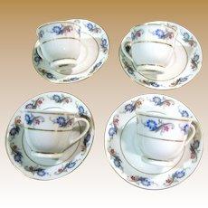 4 Elegant Floral Design Demitasse Cup & Saucer Sets