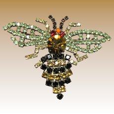 Amazing Art Deco Rhinestone Bee Pin