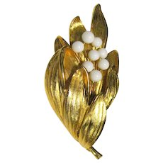 Elegant Gold-tone & Milk Glass Pin
