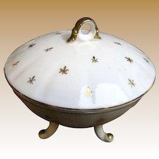 Lefton White Porcelain Candy or Trinket Dish w/ Gilt Fleur de Lis, KF2911N