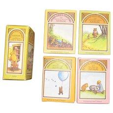 "1968, Set of 4 Mini Winnie the Pooh Books ""Pooh's Pot o' Honey"" A.A. Milne, HCDJ"