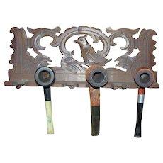 Vintage Oak 6 Smoking Pipe Holder, Wall Rack, Display, Hand Carved