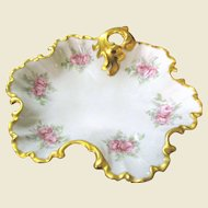 1950's Hand Gilt Rococo Style Porcelain Rose Dish