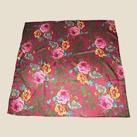 """32"""" Sq Pure Silk Blooming Rose Scarf"""