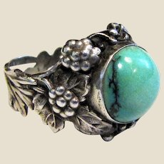 Ornate Arts & Crafts Sterling & Turquoise Ring Sz 8 3/4