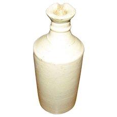 1890's, English Cream Stoneware Large Bulk Ink Bottle