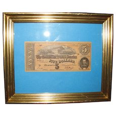 Confederate States of America$5 Five Dollar Bill. Dated February 17th, 1864. T69, Civil War