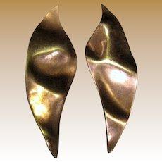 """Modernist Artisan 2 1/2"""" Copper """"Leaf"""" Earrings"""