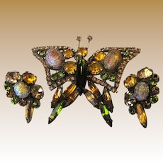 Butterfly Parure w/ Rhinestones & Easter Egg Cabochons
