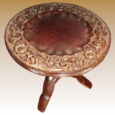 """Hand Carved Teak Folding Plant Stand/Table 12"""" Dia. by 11"""" Tall"""