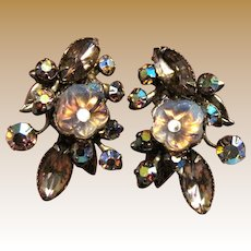 Gorgeous Vintage Crystal, AB, & Molded Glass Clip Back Earrings