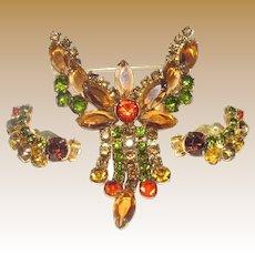 Fall Colors Crystal Demi-Parure, Brooch & Earrings