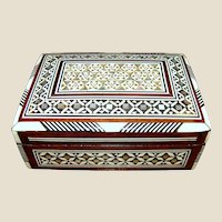 Vintage Marquetry Mosaic Wooden Trinket Box