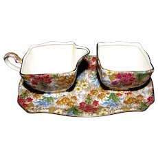 "3 Piece Royal Winton Grimwades Chintz ""Marguerite"" Creamer, Sugar & Sandwich Tray"
