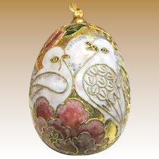 Gorgeous Cloisonne Dove Hanging Egg Ornament