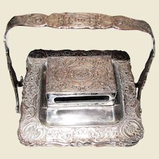 Edwardian Ladies Parlor Ashtray Set with Match Box Holder, Silver Plate over Copper, Rare, made by E.G. Webster & Son