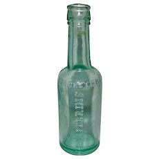 1890's, Lea & Perrins Worcestershire Sauce Bottle, Embossed Lettering, Light Green in Color