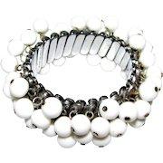 Vintage Japan White Bead Cha-cha Expansion Bracelet