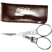 "Slip-N-Snip Folding Chrome Scissors w / Leather ""Coca Cola"" Case, Like New"