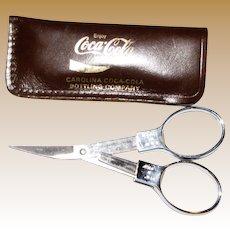 "Slip-N-Snip Folding Chrome Scissorsw / Leather ""Coca Cola"" Case, Like New"