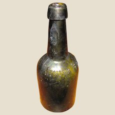 Antique Johann Hoff Bitters Medicine Bottle, Hand Blown, Dark Olive, Embossed, Made in Berlin, Cup Mold