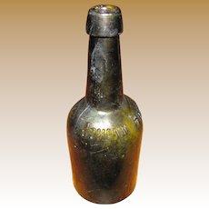 Antique Johann Hoff Bitters Medicine Bottle, Hand Blown, Dark Olive, Embossed, Made inBerlin, Cup Mold