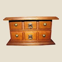 Small Fitted Hardwood Jewelry Box in Dresser Form