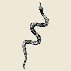 Long Silvertone Snake Pin w/ Rhinestone Eyes