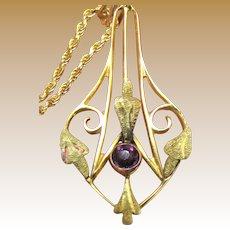 10k Gold Edwardian Pendant Necklace on Vermeil Chain