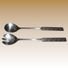 "Vintage Stainless Salad Serving Set ""Velvet"" by Stanley Roberts"