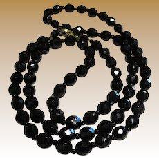 "Vintage 30"" Black French Jet Necklace"