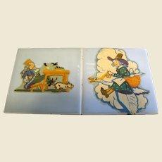 """Pair of Vintage Nursery Rhyme 4 1/4"""" Tiles"""