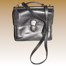 """Coach """"Willis"""" Purse, Black Leather, Nickle Silver Fittings"""